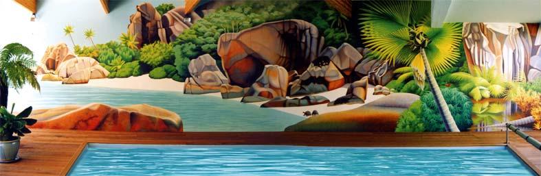 Fresque murale pour la piscine d'un particulier à brest. peinture